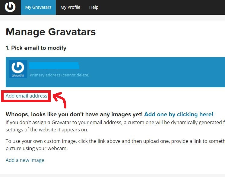 Add new email option in Gravatar