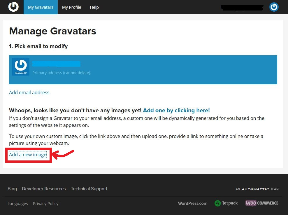 Add new image link in Gravatar