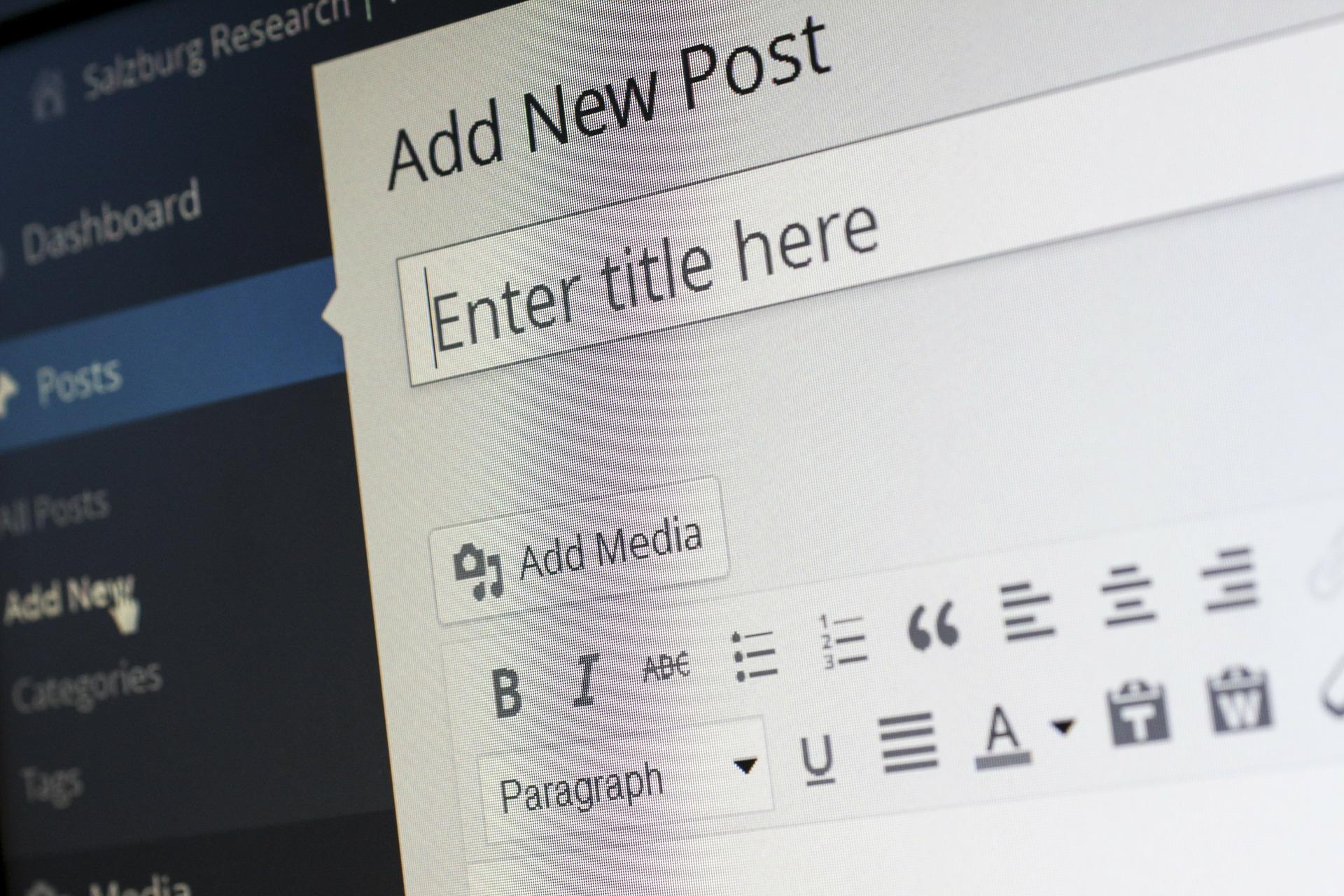 Add new post tab in WordPress