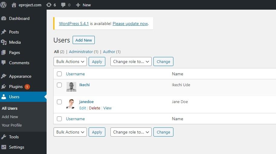 Edit author option in WordPress
