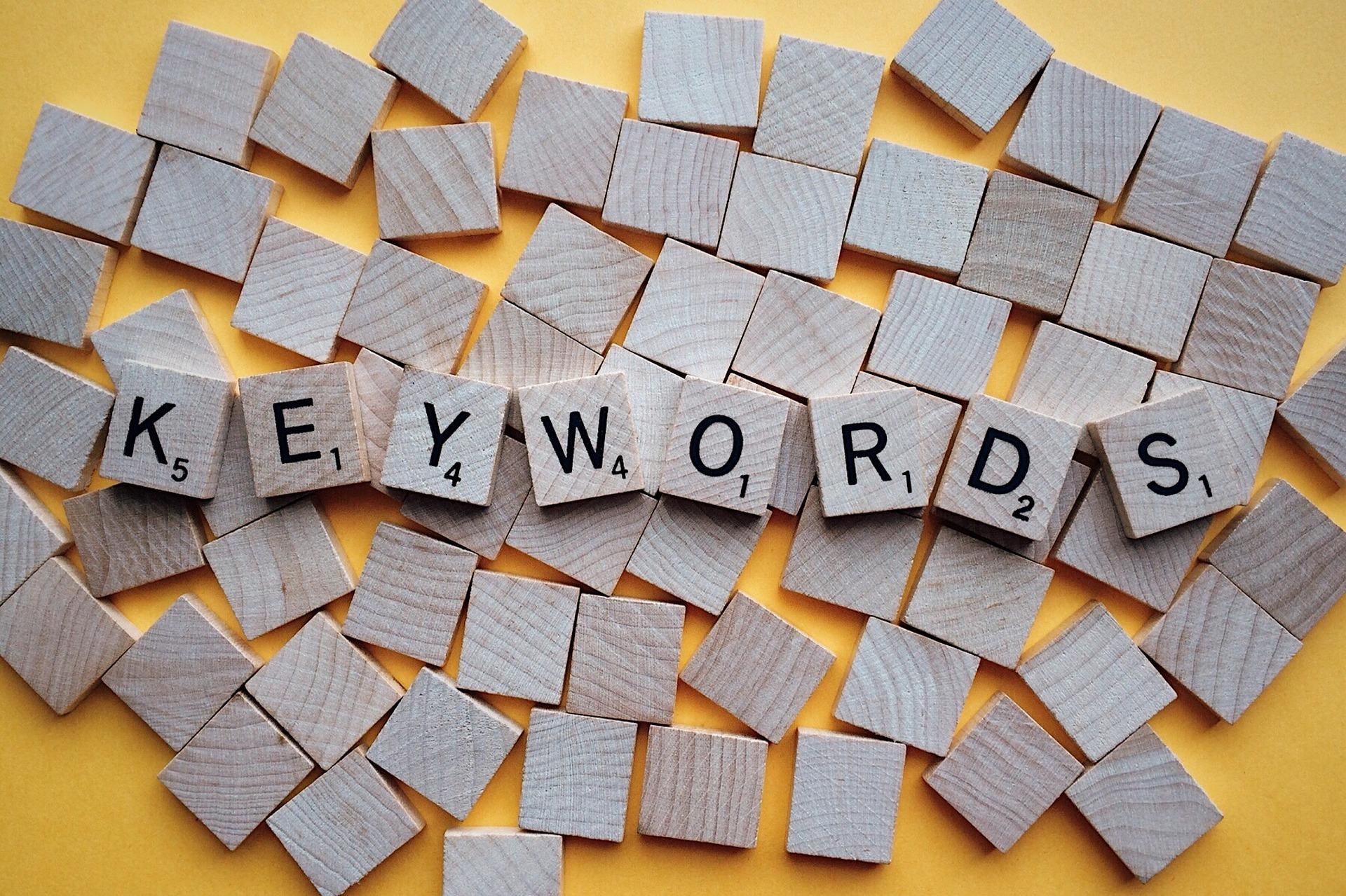 Keywords written in wooden letter blocks