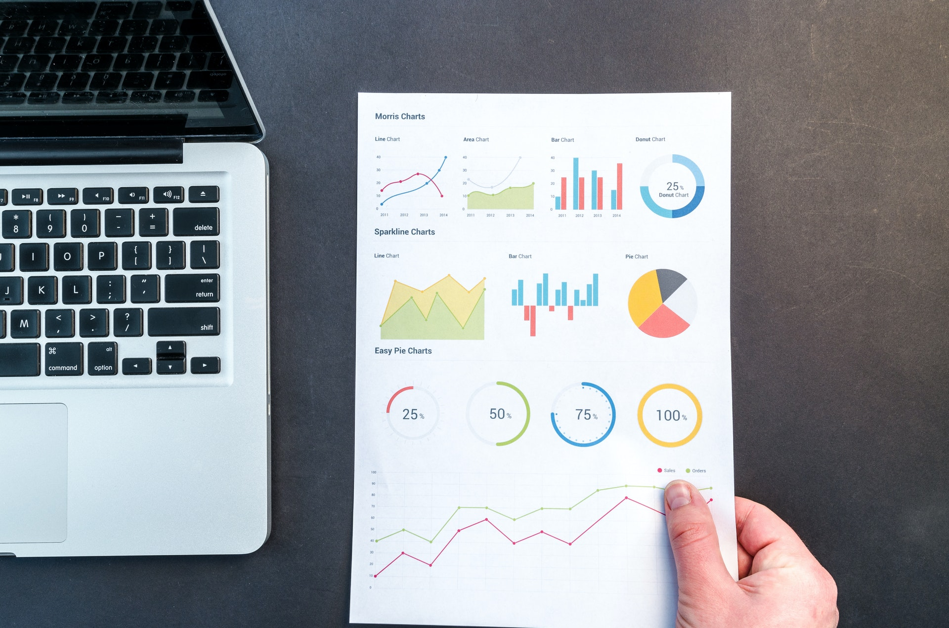person holding a analytics report