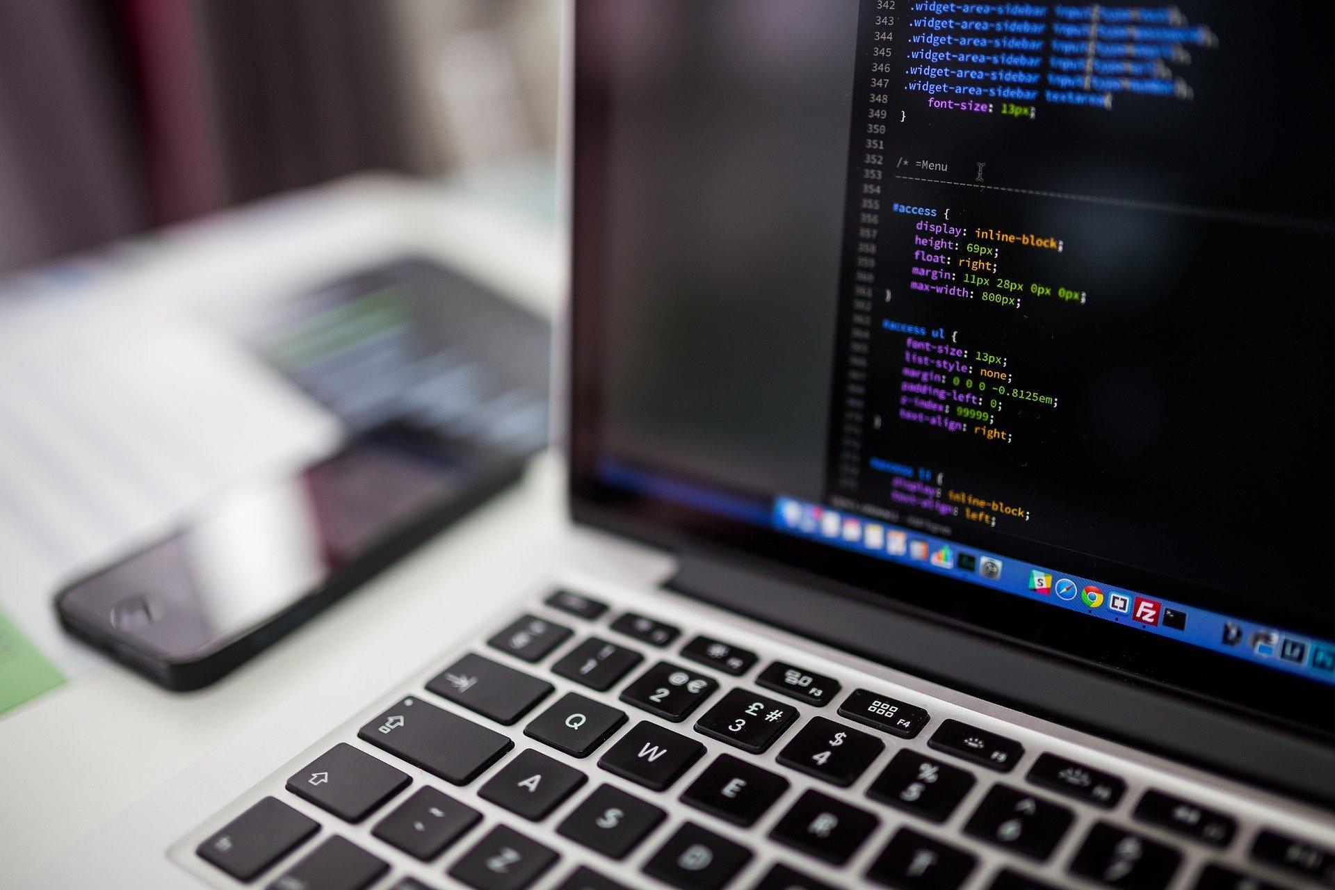 Screen showing source code