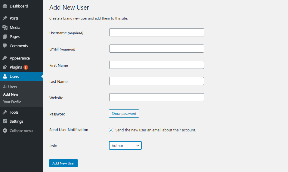 Add new users WordPress