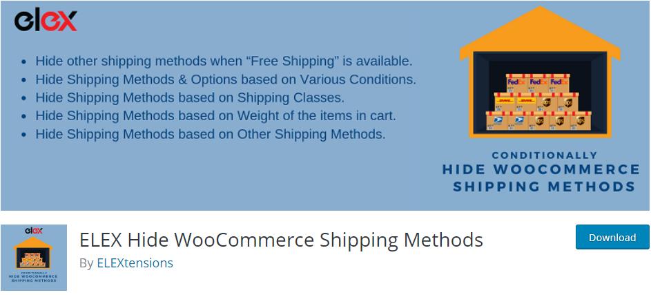 ELEX Hide WooCommerce Shipping Methods