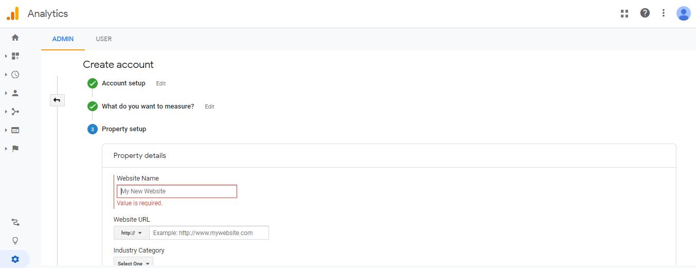 new website Google Analytics
