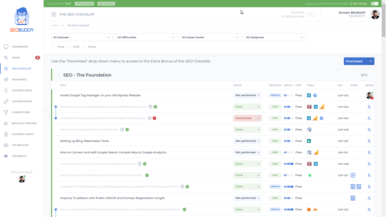 The SEO Checklist web app