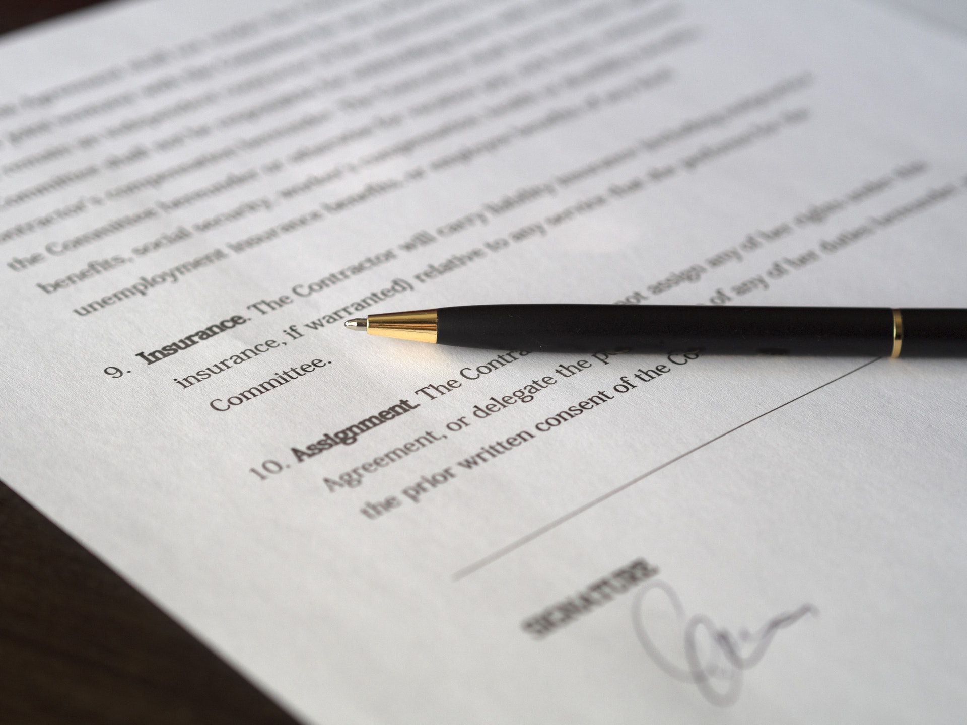 Contract on table