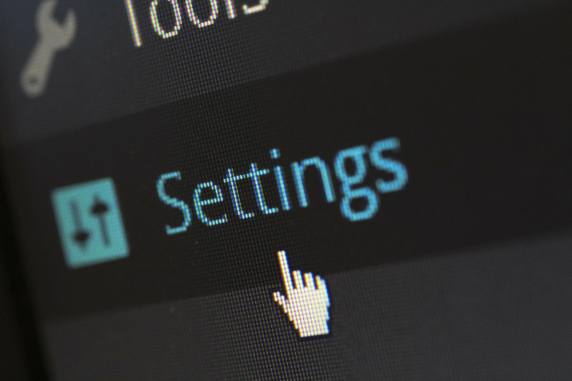Settings tab in WordPress