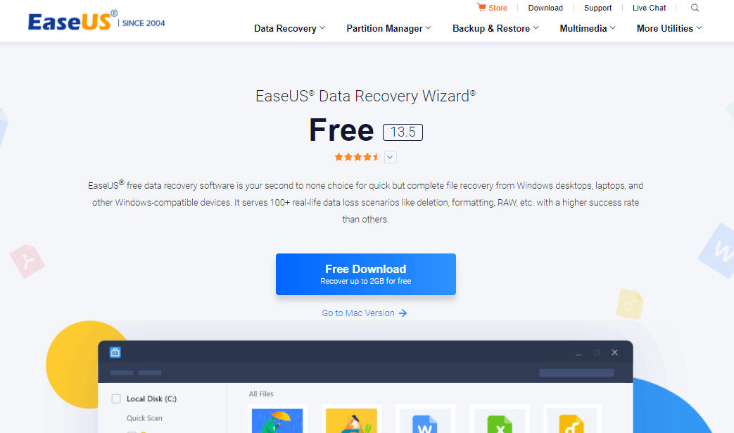 EaseUS Data Recovery Wizard Professional landing page