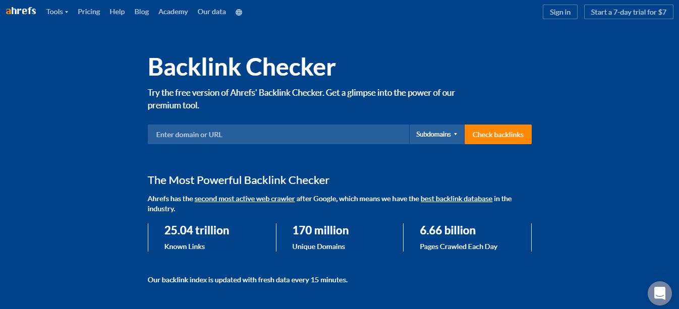 Ahrefs' Backlink Checker