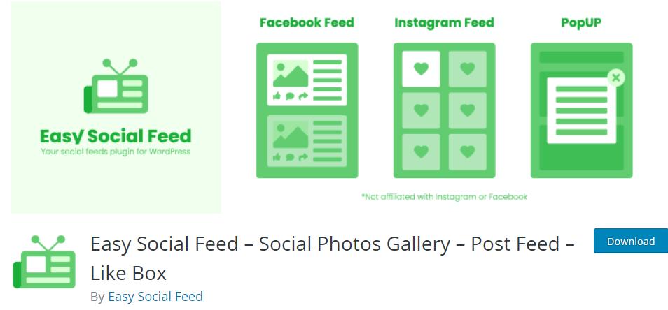 Easy Social Feed- Social Photos Gallery-Post Feed-Like Box