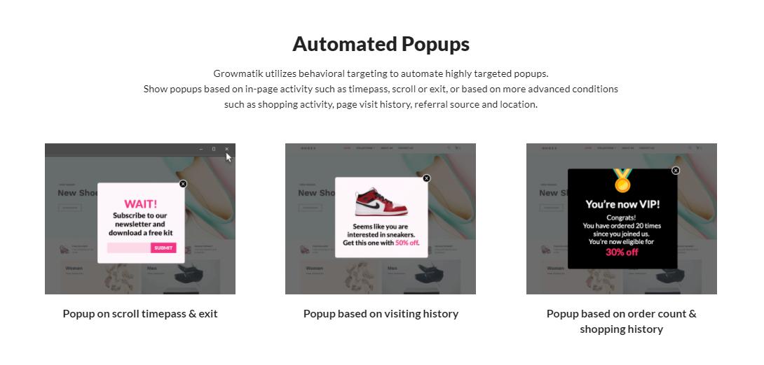 Growmatik automated popups
