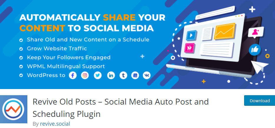 Revive Old Posts- Social Media Auto Post and Scheduling Plugin