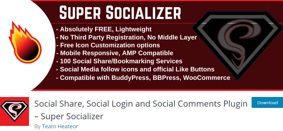 Social Share, Social Login and Social Comments Plugin- Super Socializer