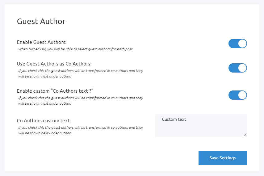 Guest Author options