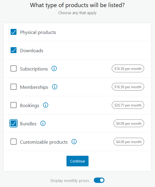 WooCommerce products form