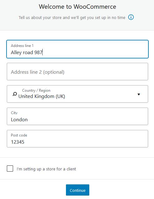 WooCommerce general information form