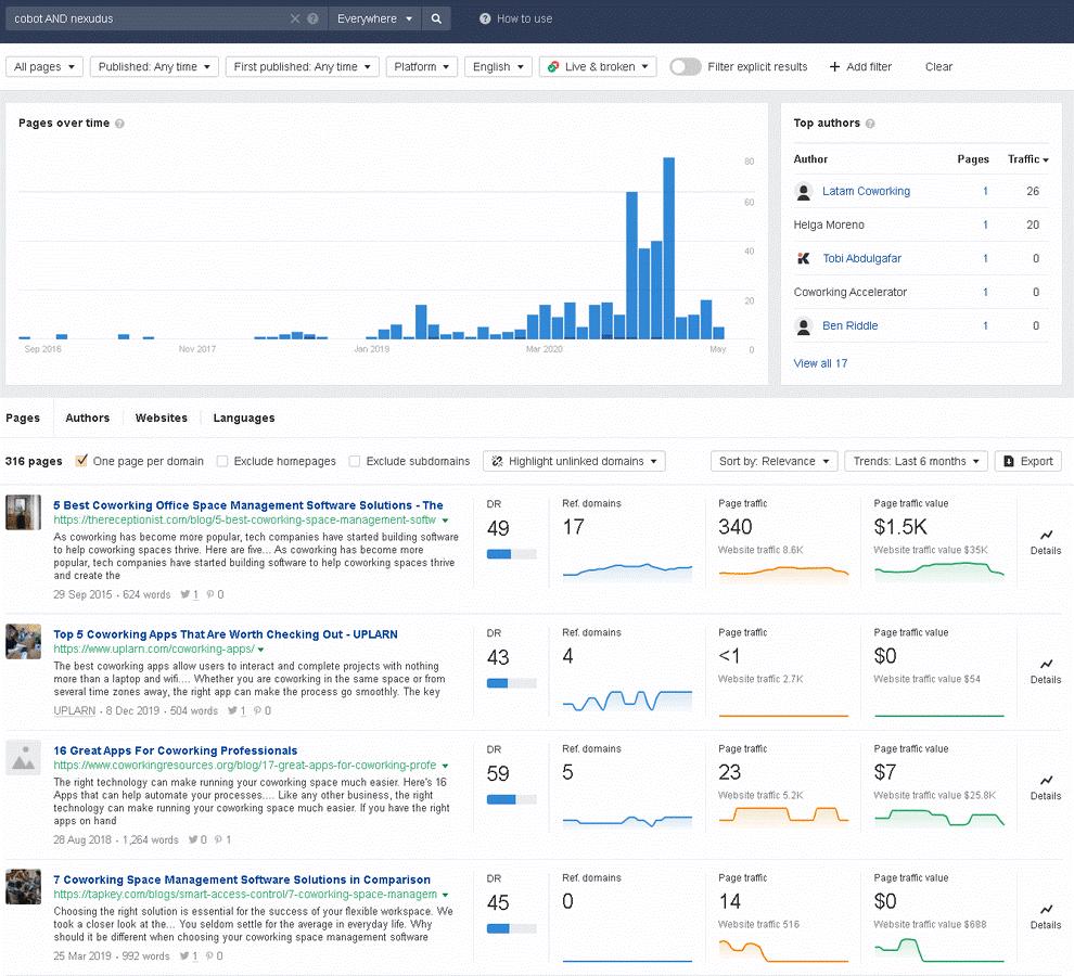 Ahrefs Content Explorer Tool