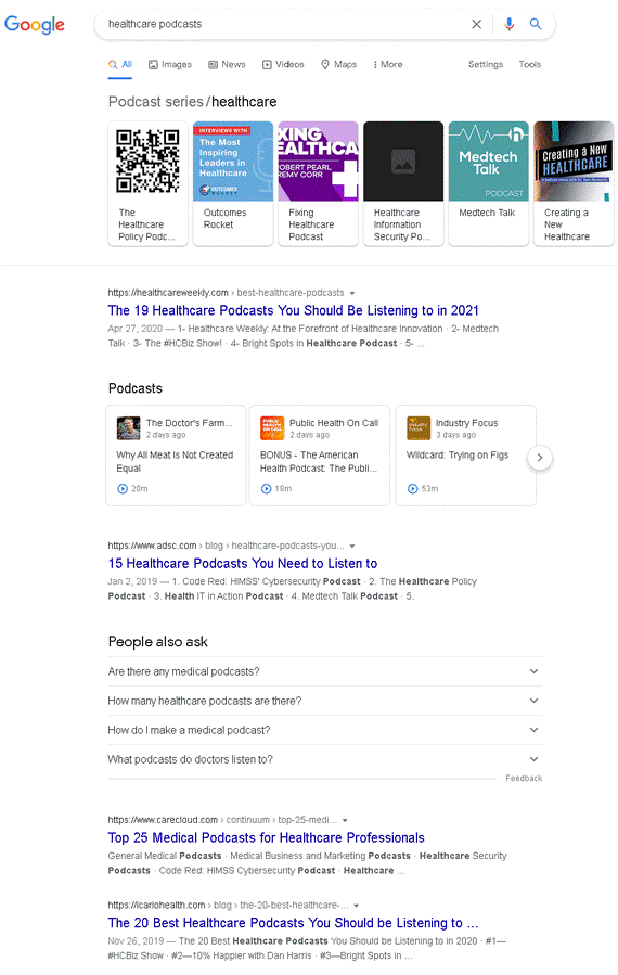 Searching podcasts on Google