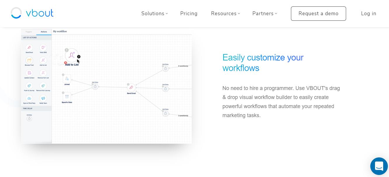 Vbout workflow customization